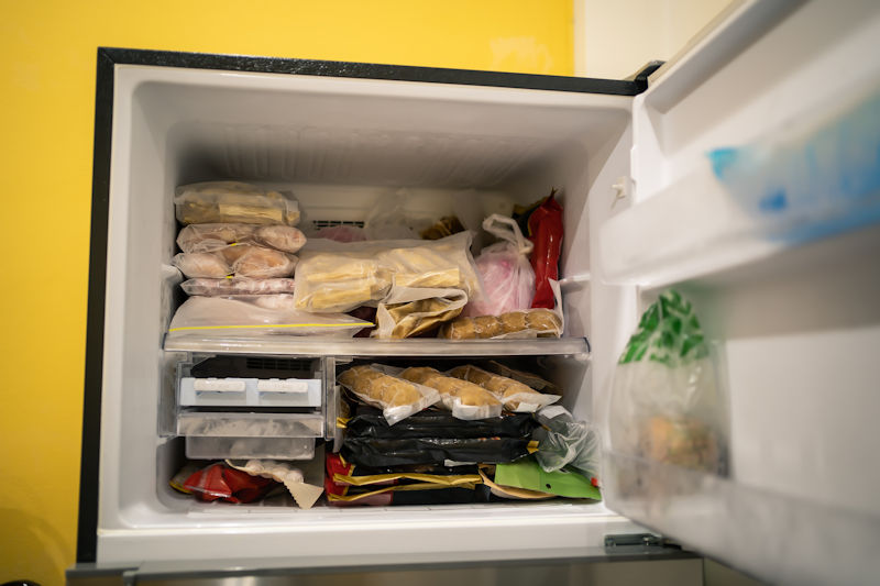 freezer stocked with food and valuables